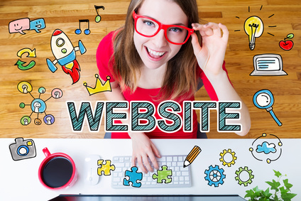 Website concept with young woman